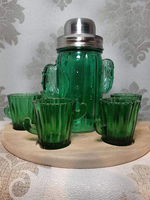 Jogo c/8 peças copos dose, coqueteleira e tábua cactus verde