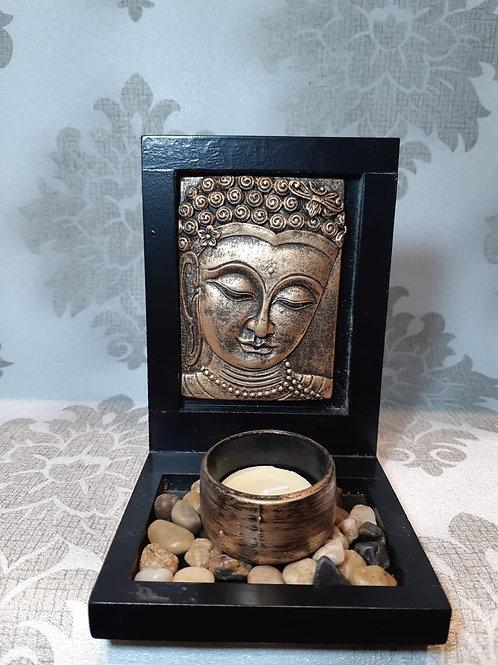 Porta vela rosto Buda