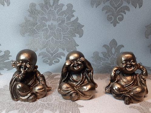 Trio de Buda bebê, não vejo, não falo, não escuto