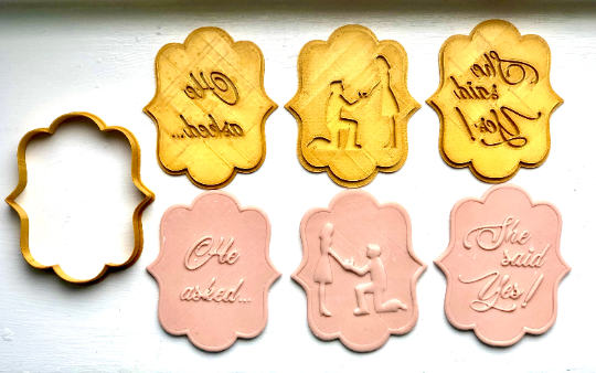 Engagement Proposal 4pc cookie/fondant cutter set - He asked... She Said Yes!