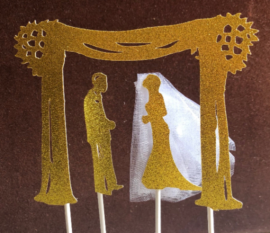 """Chuppah Jewish Wedding Topper with Veil and Tzitzit Strings 5.5""""w"""
