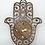 """Thumbnail: Hamsa Wall Clock SILENT, Walnut Wood & Gold - 12.5""""x10.25"""" - personalization opt"""