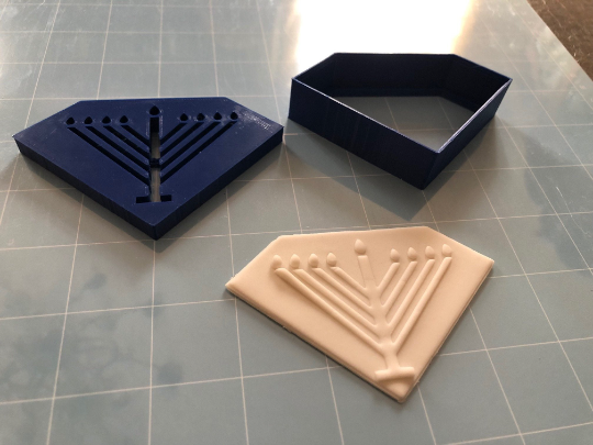 Jewish Menorah Hanukkah Cookie Cutter Diamond-Shaped  2pc SET w/Fondant Embosser