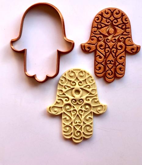 """Hamsa Swirl EYE Cookie Cutter w/Fondant Embosser - 2-piece - 4"""" or 8.5"""""""