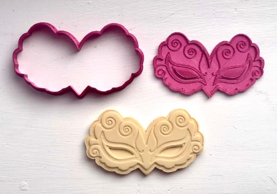 "Purim Masquerade Mask - Cookie Cutter 2pc SET 4"" Mardi Gras"
