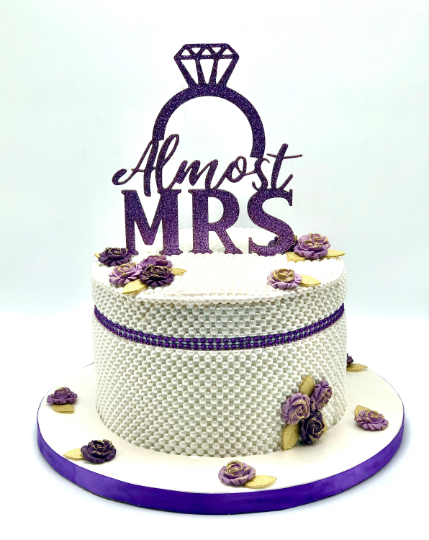"Almost MRS Cake Topper Glitter Acrylic 5""w x 7""h"