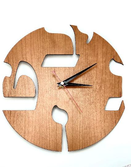 "Modern Hebrew Letter Wall Clock SILENT Cherry wood - 11"""