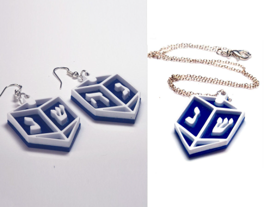 Earrings/Necklace Dreidel sterling silver and acrylic