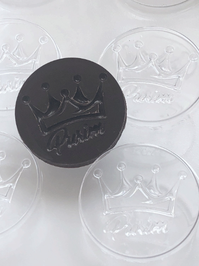 "Purim Crown Chocolate Mold 12 Cavity each 1-7/8"" round - Hebrew or English"