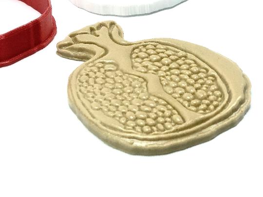 "Rosh Hashanah Pomegranate Cookie Cutter Fondant Embosser - 3.7"""