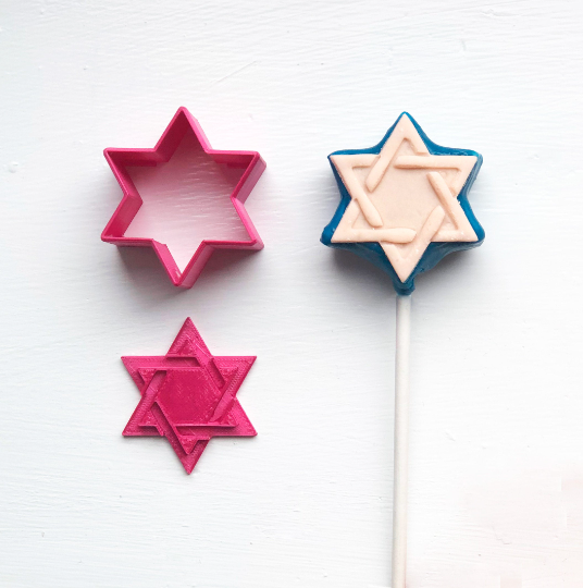 Cake Pop Stamp Jewish Star of David with Fondant Embosser 2pc set