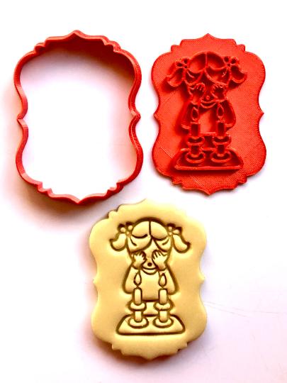"Candle lighting Shabbat Cutie Jewish Cookie/Fondant Cutter 2pc SET 3"""