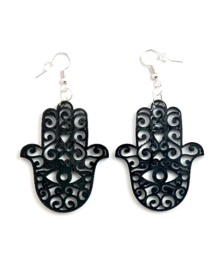 "Earrings Hamsa sterling silver and  glitter acrylic 2"" - choose color"