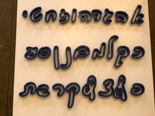 "Hebrew SCRIPT Font 27 Fondant Letter Cutter Set 1""-3"""