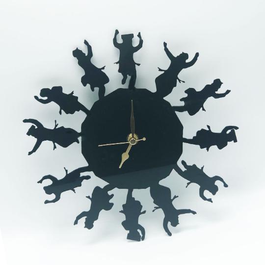 "Dancing Rabbis ""Simcha Time"" Wall Clock SILENT movement Black/Gold - 10"""