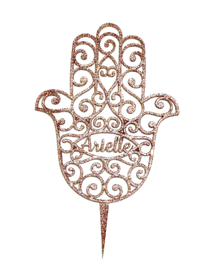 """YOUR NAME Hamsa Cake Topper Glitter Acrylic 5""""w x 6""""h - or Wall Hanging"""
