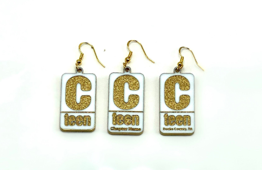 Earrings C-teen Chabad Lubavitch Logo ADD NAME sterling silver and acrylic Hebre