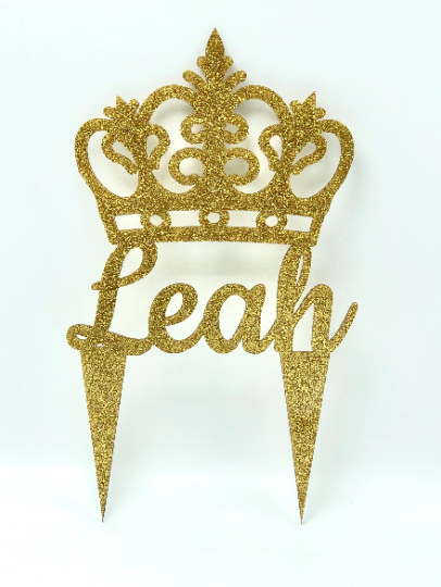"Crown Cake Topper Glitter Acrylic PERSONALIZED 5""W"