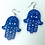 "Thumbnail: Earrings Hamsa sterling silver and  glitter acrylic 2"" - choose color"