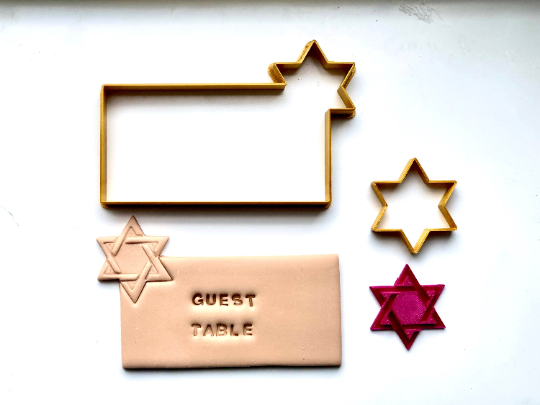 Place Card Cookies - Woven Jewish Star with Fondant Embosser 3pc set