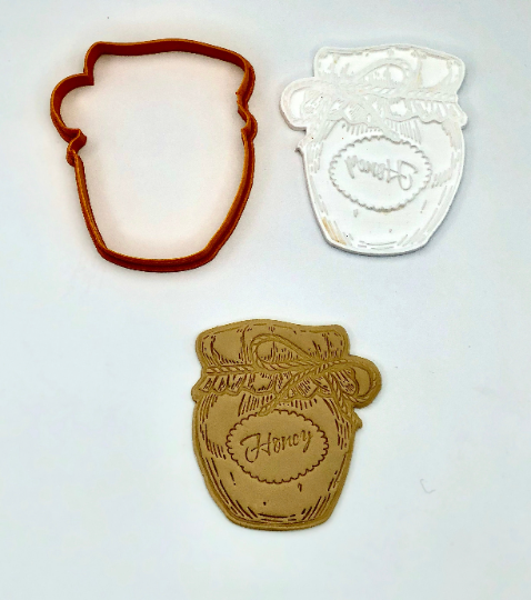"Honey Jar, Rosh Hashanah, Cookie Cutter Fondant Embosser - 3"""