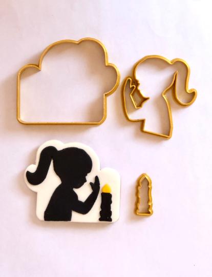 "Shabbat Girl Silhouette Candles Jewish Cookie/Fondant Cutter 3pc SET 3.5"""