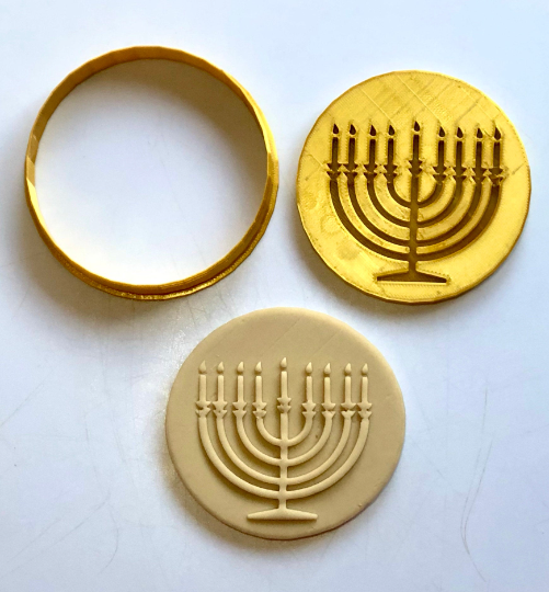 Menorah Hanukkah Cookie/Fondant Embosser/Cutter 2pc SET 3""