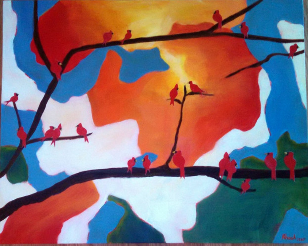 Red Birds in Branches