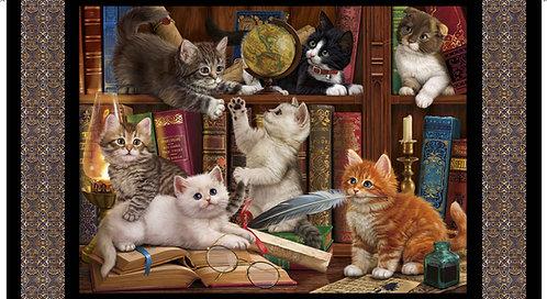 Literary Kitties Panel - Black