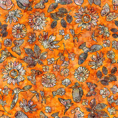 FLORA LUNA - Etched Floral - Burnt Orange