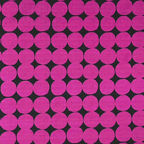 Hokkah Large Dots Canvas - Magenta on Black Dobby