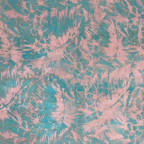 Rayon Poplin - Turquoise/Tan