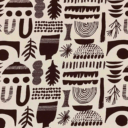 Kokka Graphic Canvas Cotton/Linen - Black on Natural