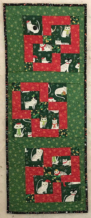 CHRISTMAS CATS Wall Hanging/Table Runner