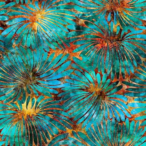 Tropicalia Large Floral - Orange/Turquoise