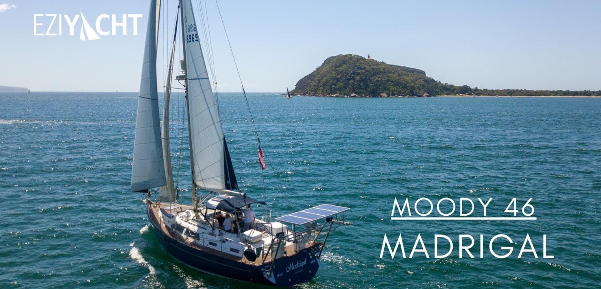 Moody 46 Madrigal sailing video Broken Bay