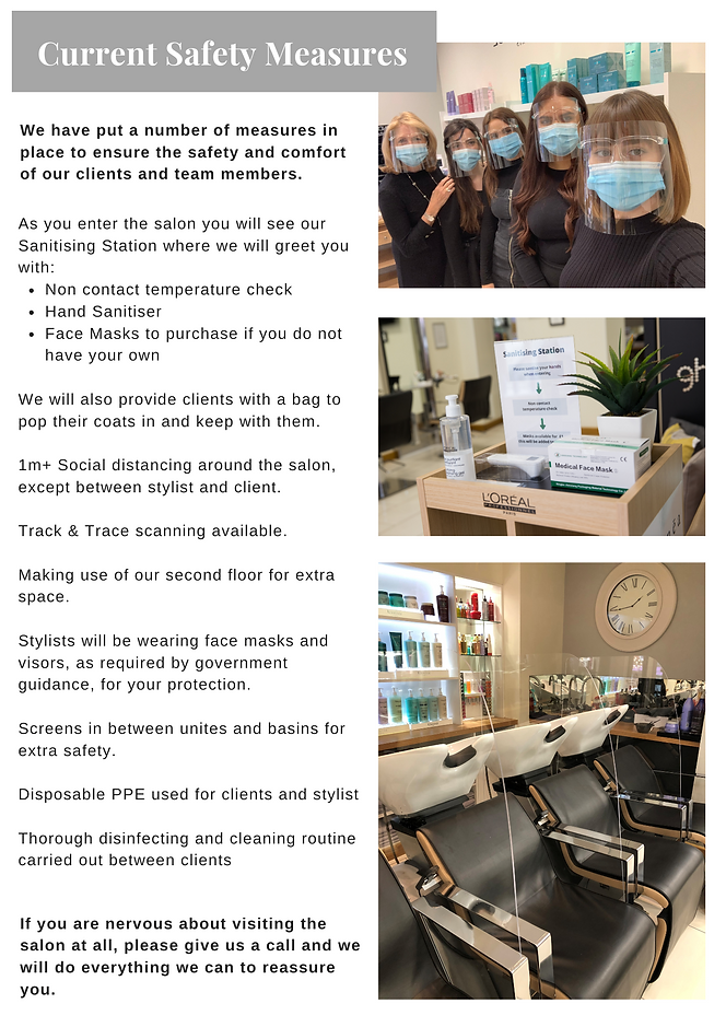 John Newman Hairdressing & Beauty Salon Current Safety Measures