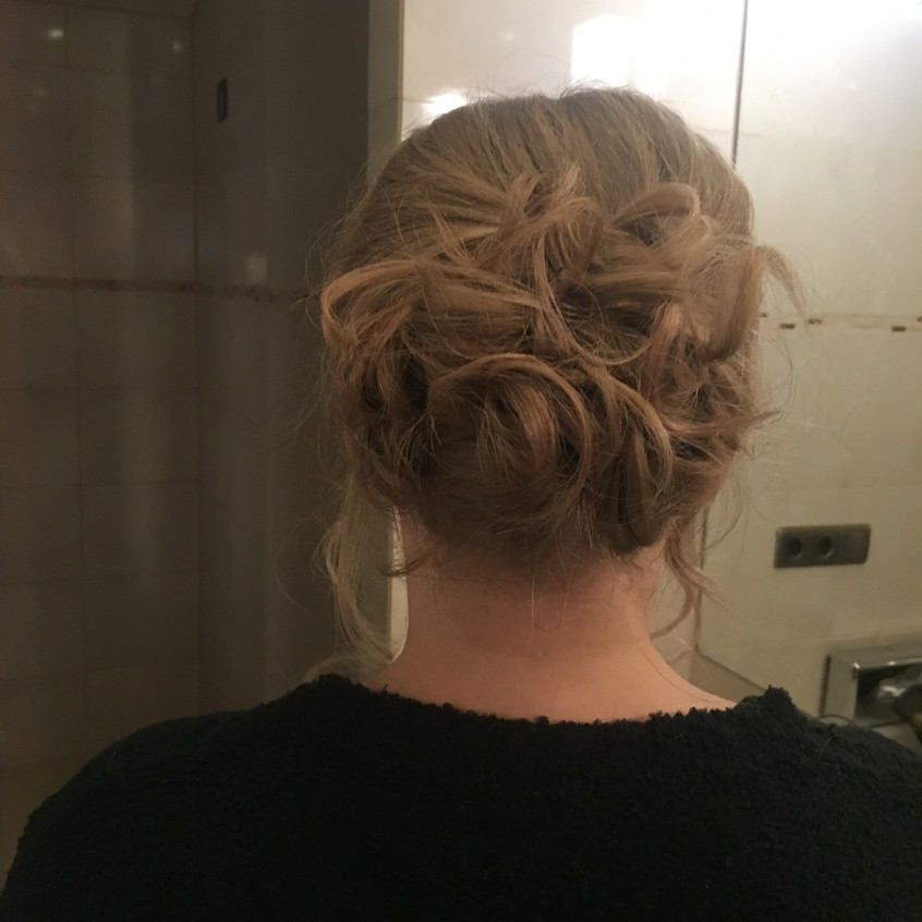 Hair up for one of the bridal party