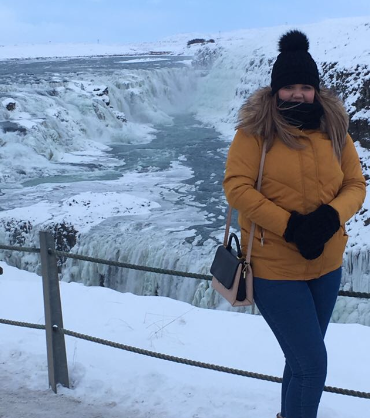 Steph in front of Gulfoss Waterfall