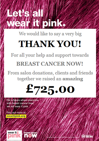 Wear It Pink for Breat Cancer Now, we have raised £725