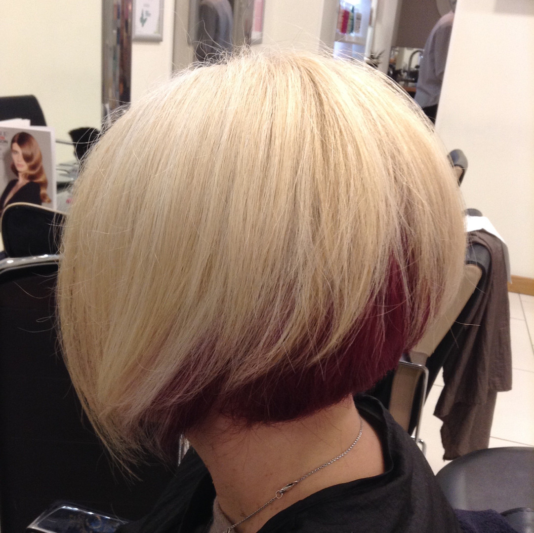 Blonde bob with red flashes underneath