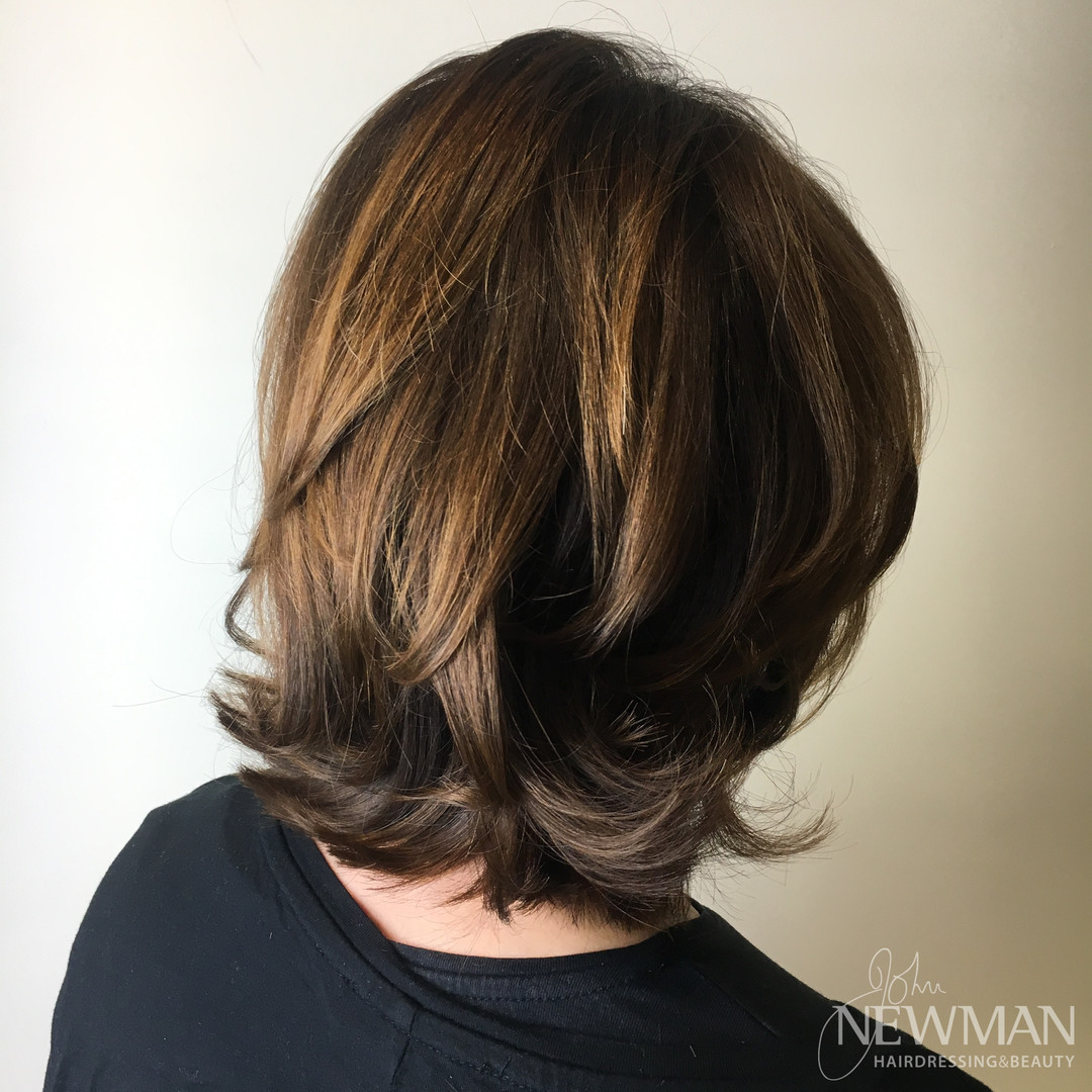 Layered short cut blowdried with body and movement
