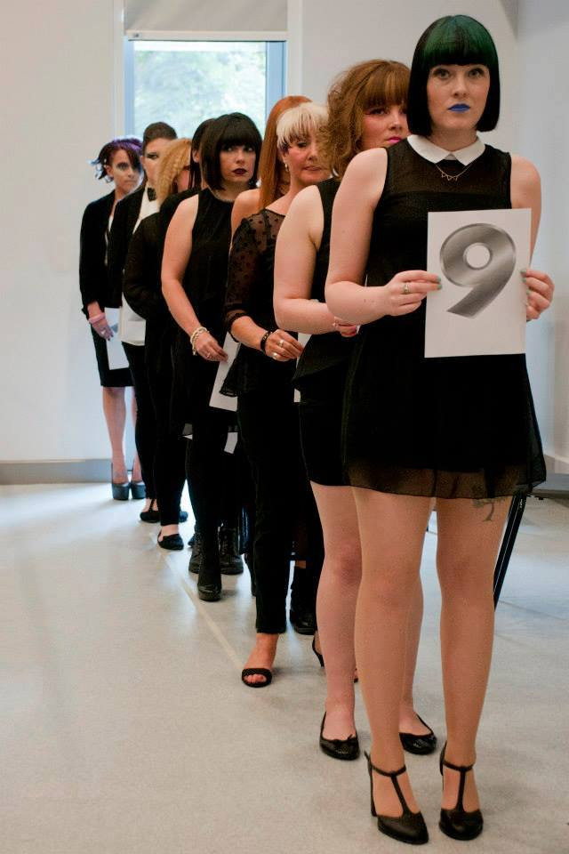 Precision Cut & Colour Models waiting to be judged at the Level 3 Hair Show