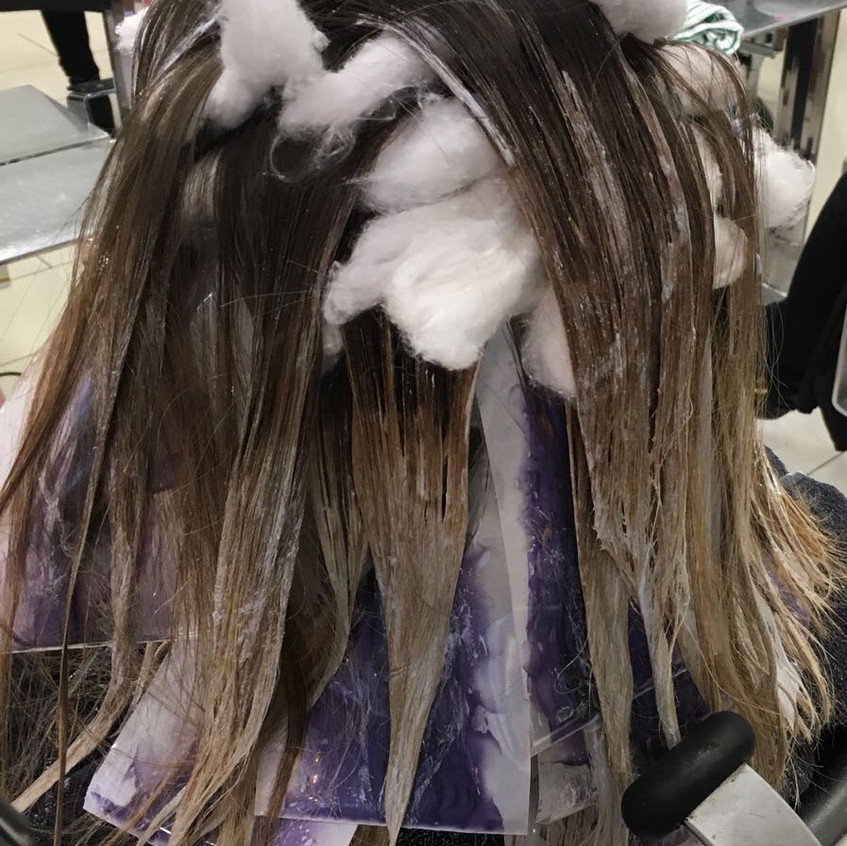 Balayage and highlights developing