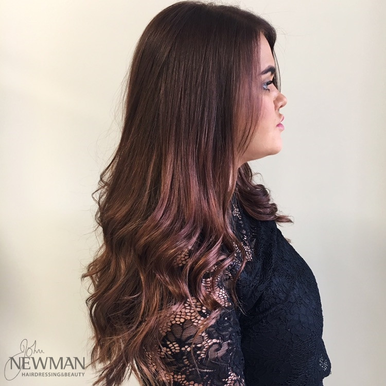 Long dark hair with subtle balayage