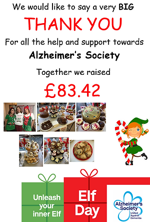 Together we raised £83.42 fo Alzheimer' Society
