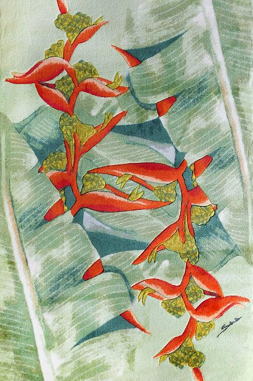 5'x8' Area Rug - Red Hana Ginger on Light Green