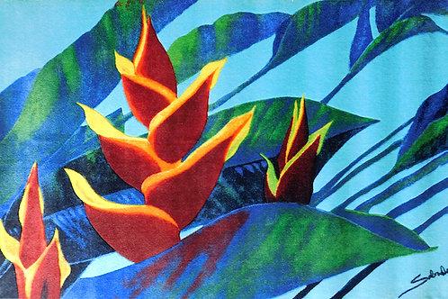 8' x 11' Area Rug - Red Hana Ginger on Blue