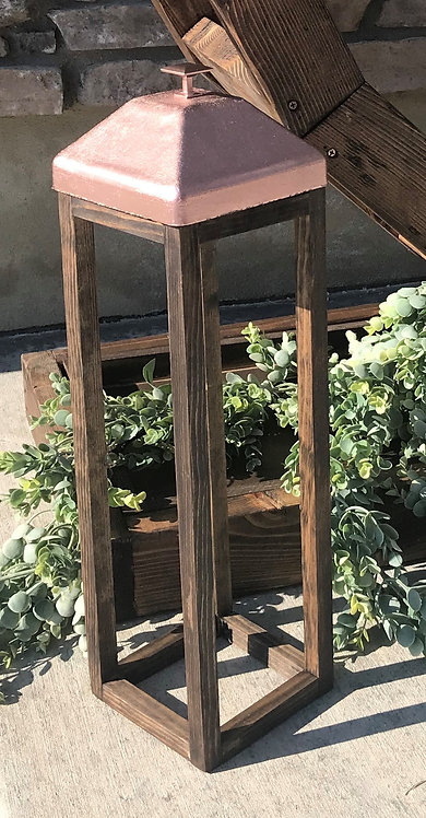 Wood Lantern With Rose Gold Top