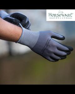 HORSEWARE COATED SUPREME GRIP GLOVES - GREY/BLACK
